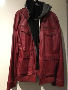 Charles And A Half Faux Leather Bomber Jacket With Hooded Fleece-like Lining Lrg