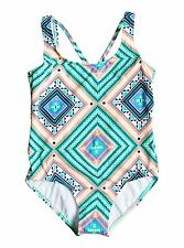 Roxy Girls Hippie College One Pool Blue Piece  Sz 10 ERGX103013