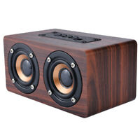 Wooden 3D Surround Stereo Dual Loudspeaker Bluetooth Wireless Speaker Super Bass
