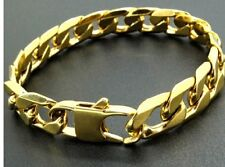 Thick Mens 20cm Stainless Steel Gold Curb Link Chain Bracelet 6mm 8mm 12mm C7