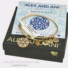 Authentic Alex and Ani BFX 2016 Snowflake Rafaelian Gold Charm Bangle