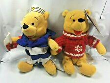 Walt Disney Lot of 2 Winnie The Pooh Red Snowflake Sweater & Nautical Plush VTG