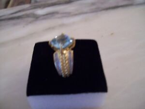 WOMENS 14K YELLOW GOLD PLATED OVERSTERLING SILVER RING BLUE TOPAZ DIAMOND