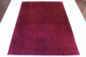 Vintage Quality Lavender Fine with Silk Persian Carpet Oriental Rug 3,40 X 2,45