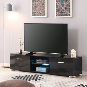 Modern TV Stand for TVs up to 55'', High Gloss TV Cabinet w/RGB LED Backlights,