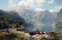 Sunny day at a Norwegian fjord by August Leu. Landscape Art on Canvas or Paper