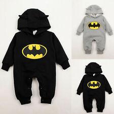 NEONATO BAMBINO RAGAZZO Vestiti Batman CON CAPPUCCIO TUTA MONOPEZZO 3-24months