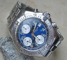 Wow ☆ deal ☆ breitling Colt chronograph Chrono reloj estuche Automatic metalizado azul