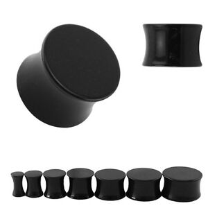 BLACK Acrylic Ear Plugs Piercing Stretchers Jewellery Tunnels Flared Saddle PL39