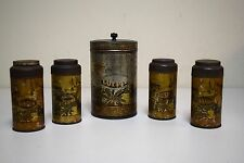 ANTIQUE Metal Tin Painted Stenciled Canister Set Spices Coffee 5 Pieces