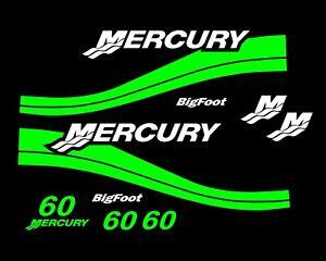 MERCURY 60HP Bigfoot Outboard REMIX Decal Kit Pontoon Fishing Cowling M60 Green