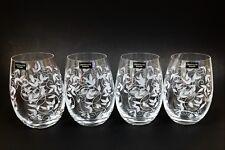 NEW BOHEMIA SET OF 4 TITANIUM CRYSTALITE FLORAL STEMLESS WINE GLASS 19 OZ-CZECH