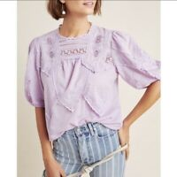 Anthropologie Lavender Puff Sleeve Lace Aderyn Top Blouse Short Sleeve Boho Sz M