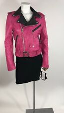 Schott Perfecto Womens Soft Lambskin Pink/Black Motorcycle Jacket Size S NWT