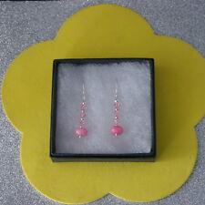Beautiful Earrings With Pink Morganite And Crystal 2.3 Gr.3 Cm. Long + Hooks