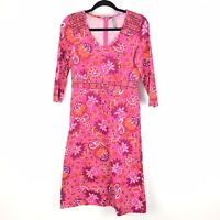 Hanna Andersson Pink Orange Floral Dress 3/4 Sleeves Womens Sz XS