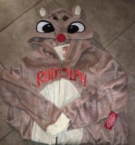 One Piece Christmas Rudolph Pajamas Loungewear Hooded  PJ NWT  2XL