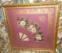 BEAUTIFUL ROSES FAN PICTURE WALL HANGING WITH GOLD FRAME HOME INTERIORS