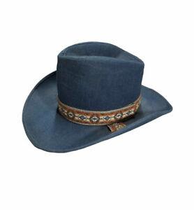 Vintage Blue Denim Western Cowboy Hat Large 7 1/4 - 7 3/8