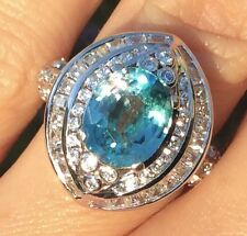 3.8ct Natural Earth Mined Blue Unheated Zircon Tanzania Cocktail Ring 5