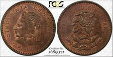 1959-MO MEXICO 50 CENTAVOS BU PCGS MS64RB TONED COIN ONLY 4 GRADED HIGHER