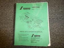 Schwing HBV160 Concrete Pump Parts Catalog & Owner Operator Maintenance Manual