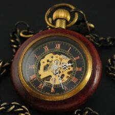 Antique Mechanical Wind up Skeleton Steampunk Mens Pocket Watch FOB Vintage Gift
