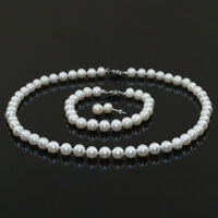 """A SET natural cultured fresh water pearl 8-9mm white black pink necklace 17 """""""