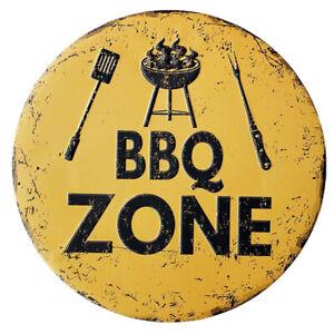 Decor Vintage Painting Irregular Sign BBQ ZONE Round Plates Metal Tin Plaque