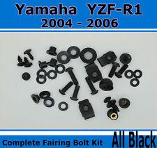 Fairing Fasteners Complete Bolt Kit Black Screws for Yamaha 2004-2006 YZF R1