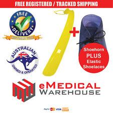Aidapt Plastic Shoehorn & Elastic Shoelaces Package - Extended length shoe horn