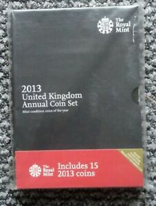 Brilliant Uncirculated 2013 Royal Mint UK annual coin set - 15 Coins - Sealed