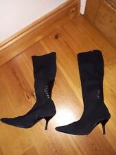 Sasha Black Pointed Stretch Boots - Size 5