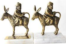 Vtg Handcrafted Islamic Man Animal Donkey Brass Engraved Figurine Sculpture 2 Pc