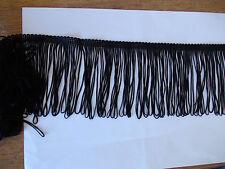 """Par le mètre Robe Noire Boucle Frange - 4""""/10cms"""