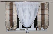 Fertiggardine aus Voile Modern Set Schöne Gardine Vorhang AG9 Braun Weiß Fenster