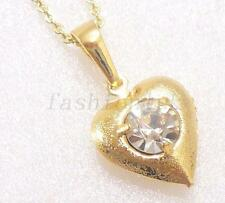 Women 18K Yellow Gold Plated CZ Xmas Birthday Small Heart Love Necklace Pendant