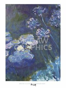 """MONET CLAUDE -WATER LILIES AND AGAPANTHUS, 1914- ART PRINT POSTER 32""""X24""""(1556)"""