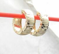Reversible Tricolor Hinged Huggie Hoop Earrings Real 14K Yellow White Rose Gold