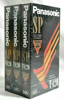 Panasonic T-120 Blank VHS VCR Tapes 3 Pack 6 Hours Each New Old Stock Sealed NOS