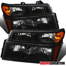 For 2004-2012 Colorado Canyon Black Clear Headlights w/ Corner Signal Lamps Pair