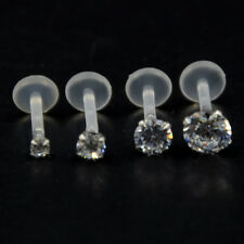 Prong set CRYSTAL CLEAR Stone Push in Bioflex Labret stud Lip Tragus helix ear