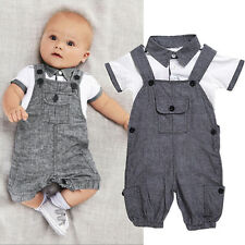 Newborn Baby Boy Gentleman Outfit Clothes Shirt Tops Bib Pants Jumpsuit 2pcs Set 1pc Tops 18-24 Months