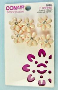 Conair Goldtone White Enamel & Rhinestone Flower 6 Spiral Hairpins