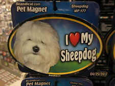 I Love My Sheepdog 6 inch oval magnet for car or anything metal New