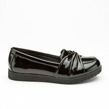 girls school shoe chunky black patent twist loafer lightweight hard wearing sole