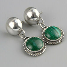 Vintage Navajo Malachite Artie Yellowhorse Sterling Silver Earrings Native Amer