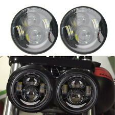 "Black 4.65"" Dual LED Headlights w/Daytime Running Lights for 08-16 Fat Bob FXDF"