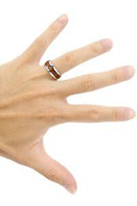 Hawaiian Koa Wood Stainless Steel 316L Ring - 8mm, Wedding Band, Unisex