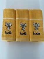 Pack of Three Bee Humble Kitchen Hand Tea Towel in Ochre 100% Cotton 50cm x 65cm